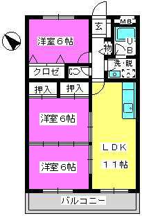 Cityハイツ山田 / 303号室間取り
