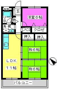 Cityハイツ山田 / 402号室間取り