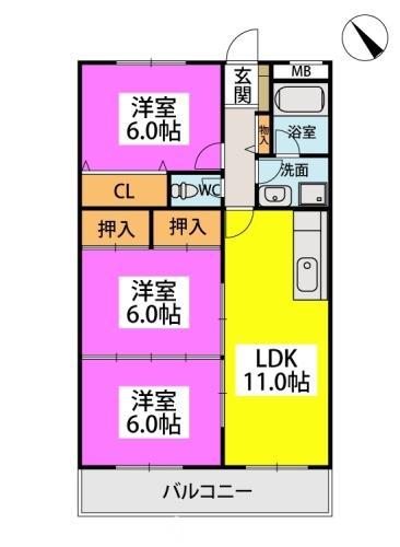 Cityハイツ山田 / 403号室間取り