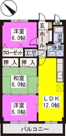 レスピーザⅡ / 201号室間取り