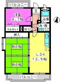 ルミエール東大利 / 203号室間取り