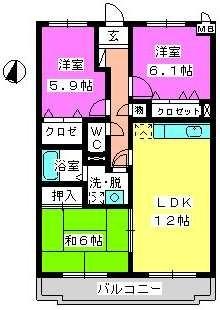 ルミエール東大利 / 402号室間取り