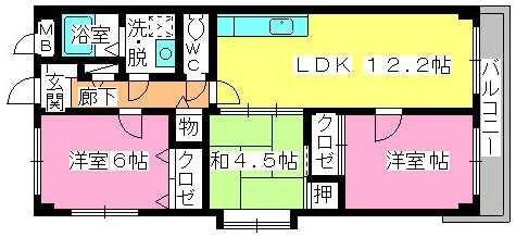 グレースマンション大野城 / 201号室間取り