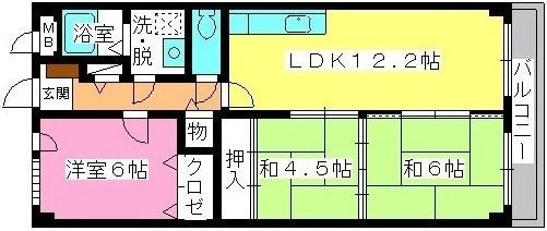 グレースマンション大野城 / 203号室間取り