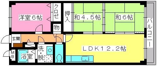 グレースマンション大野城 / 402号室間取り