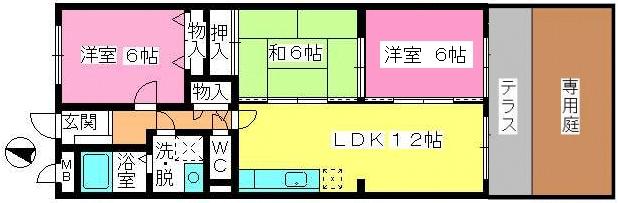 シャルム大野城 / 102号室間取り