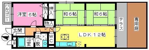シャルム大野城 / 103号室間取り