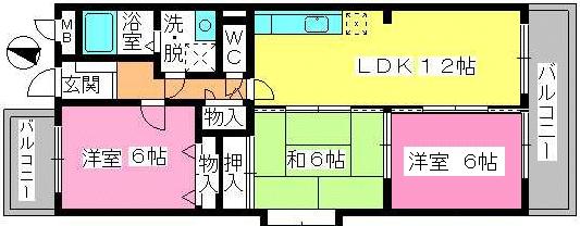 シャルム大野城 / 201号室間取り