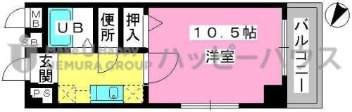 アネモス春日原 / 201号室間取り