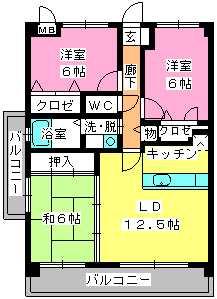 フローラルハイツ / 301号室間取り