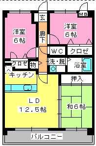フローラルハイツ / 402号室間取り