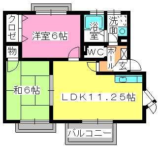 サンハイム日永田 / 201号室間取り