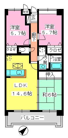 フレア・クレスト水城 / 103号室間取り