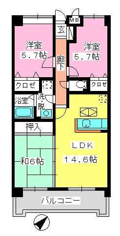 フレア・クレスト水城 / 105号室間取り