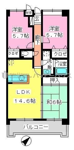 フレア・クレスト水城 / 203号室間取り