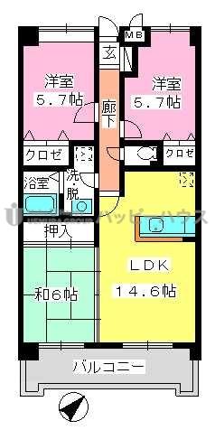 フレア・クレスト水城 / 302号室間取り