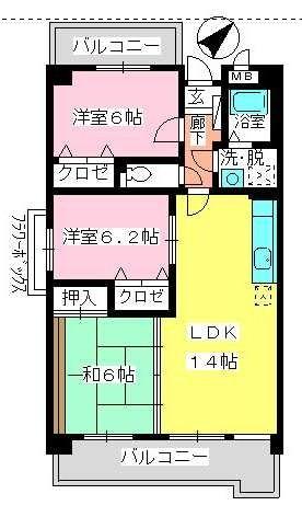 フレア・クレスト水城 / 406号室間取り