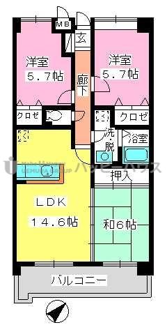 フレア・クレスト水城 / 501号室間取り