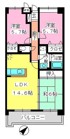 フレア・クレスト水城 / 601号室間取り