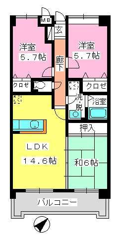 フレア・クレスト水城 / 603号室間取り