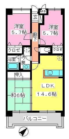 フレア・クレスト水城 / 605号室間取り