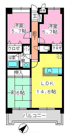 フレア・クレスト水城 / 702号室間取り