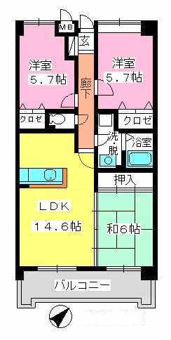 フレア・クレスト水城 / 703号室間取り