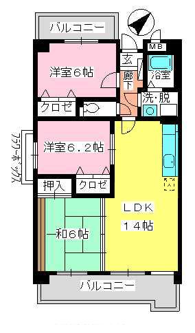 フレア・クレスト水城 / 706号室間取り