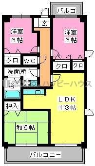 グランピア若草 / 404号室間取り