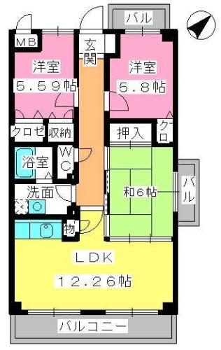サニーサイド / 403号室間取り