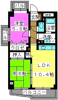 ソシアつつじケ丘 / 202号室間取り