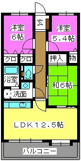 ピュア若草Ⅱ / 502号室間取り