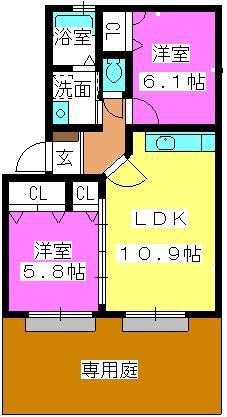 プロシード倉石 / 103号室間取り