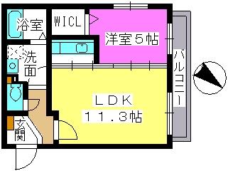 レスピーザⅢ / 201号室間取り