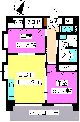プレジデント大野城 / 302号室間取り