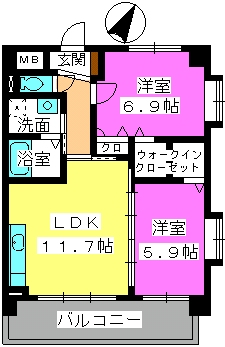 プレジデント大野城 / 405号室間取り
