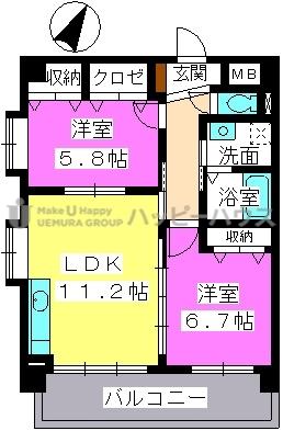 プレジデント大野城 / 502号室間取り