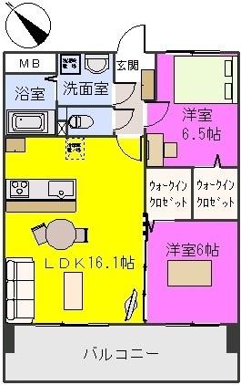 レ・アルトピアーノ / 402号室間取り