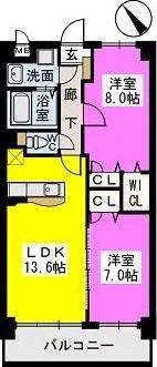 レジデンス御笠川 / 702号室間取り