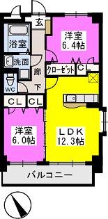 プレジデント正弥横峰 / 201号室間取り