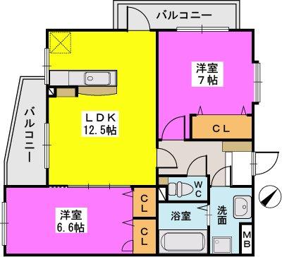 エスパシオ フェリス大野城 / 203号室間取り
