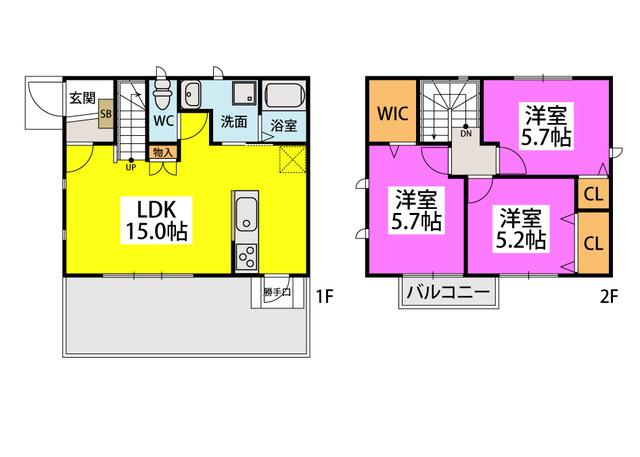 仮)タウンハウス大城 / B号室間取り