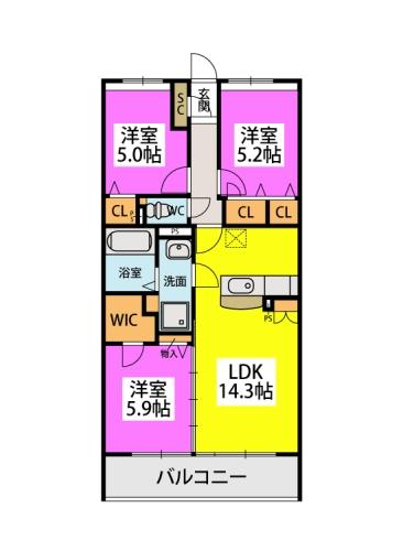 仮)プレア山田4丁目 / 203号室間取り