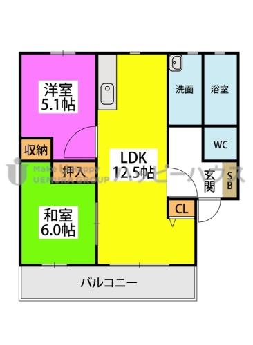 フラワーポテト正弥 / 1-205号室間取り