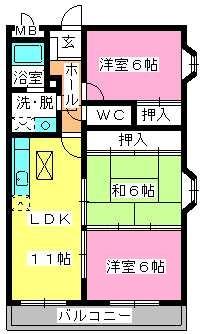 サンシャイン須玖 / 301号室間取り