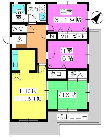 シャンテ春日原 / 301号室間取り
