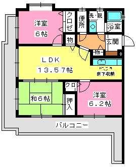 エクセレント岡本 / 203号室間取り