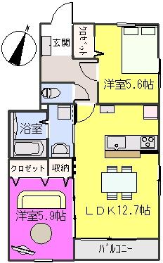 クレベール8 / A-201号室間取り