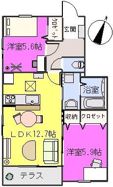 クレベール8 / B-102号室間取り