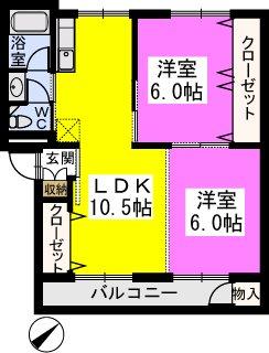 サンライズ桜ヶ丘 / 302号室間取り